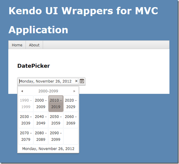 Kendo DatePicker Wrapper for ASP NET MVC | Telerik Helper