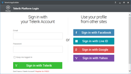 Telerik Platform Credentials