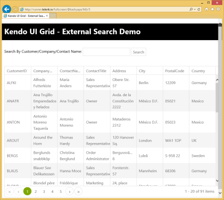 Kendo UI Grid with External Search Box