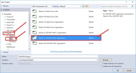 Visual Studio New Project Dialog