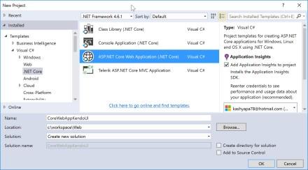 ASP.NET Core New Project Dialog